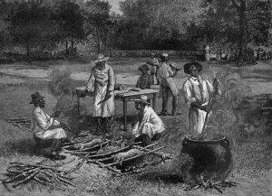 Illustrazione di tecniche di cottura, riconducibili alla tecnica barbecue, probabilmente in un campo schiavi nell'America Coloniale